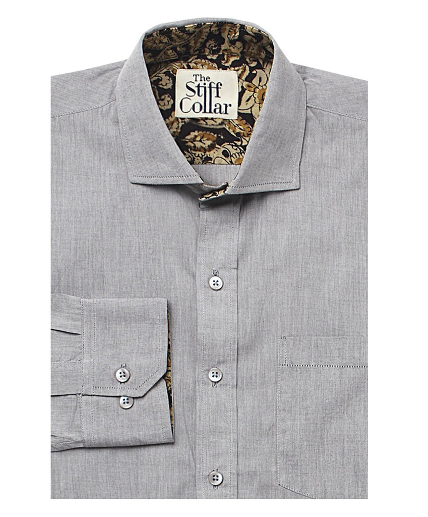 Grey Chambray Kalamkari Cotton Shirt