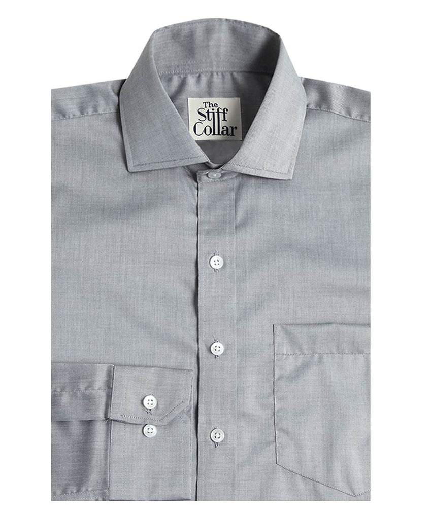 Light Grey Chambray Regular Fit Giza Cotton Shirt