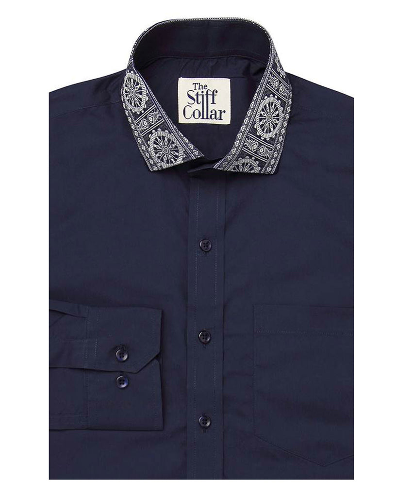 Steel Blue Poplin Odisha Ikkat Cotton Shirt