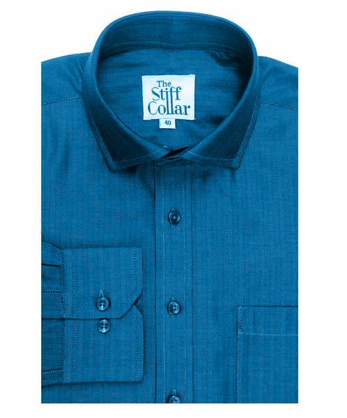 Peacock Blue Herringbone Shirt