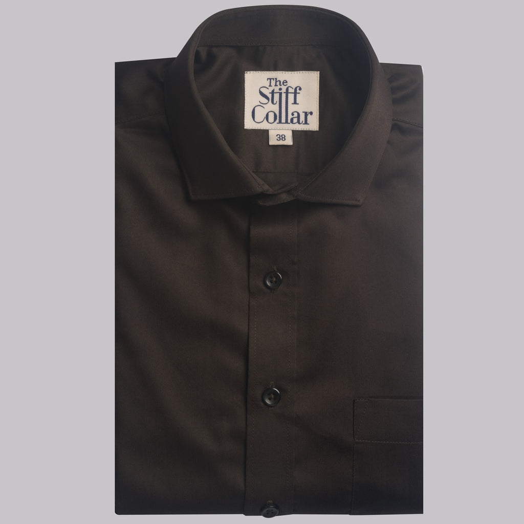 Dark Olive Green Satin Cotton Shirt