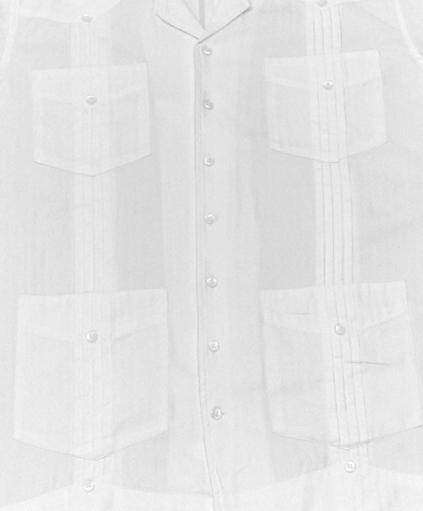 The Guayabera White Herringbone Cotton Full Sleeve Hemingway Shirt