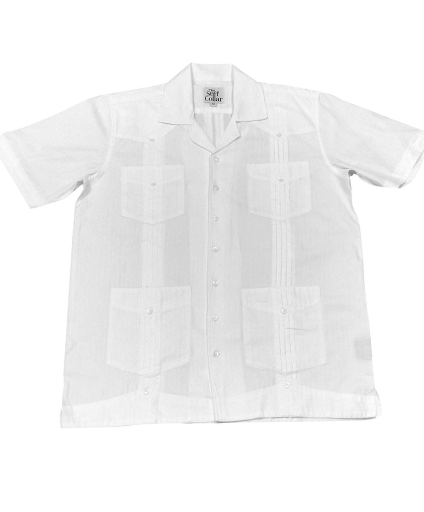 White Herringbone Half Sleeve 4 Pocket Front Back Pleated Bush Shirt