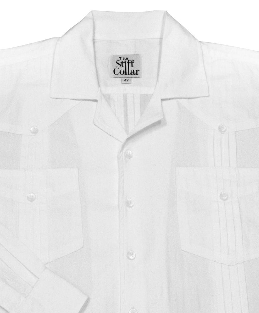 White Herringbone Full Sleeve 4 Pocket Front Back Pleated Hemingway Shirt