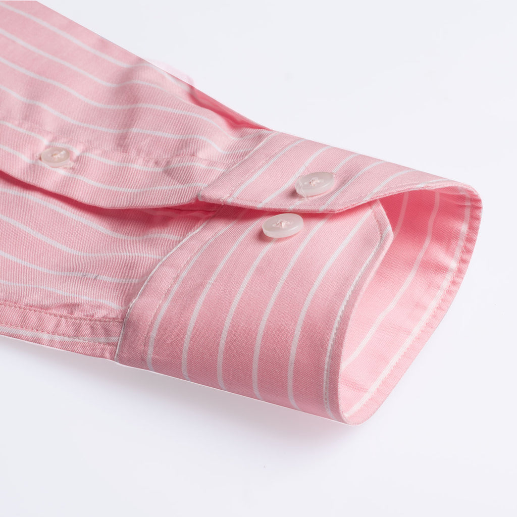 Flamingo Pink Stripes Regular Fit Shirt