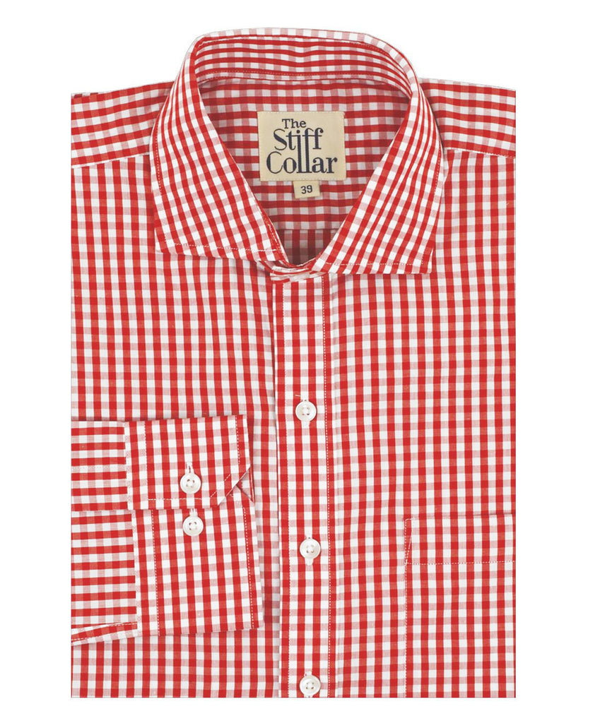 Red Gingham Regular Fit Cotton Shirt