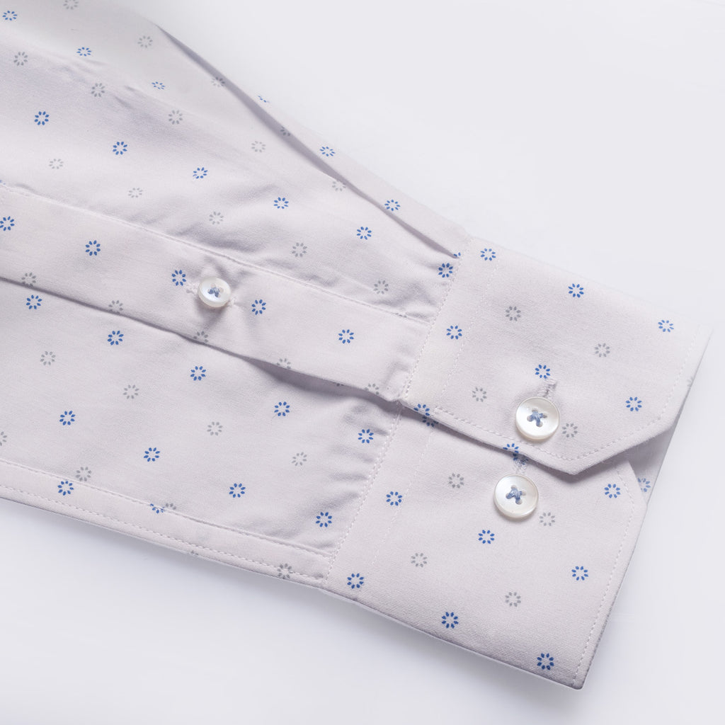 White Poplin Dial Print Cotton Shirt