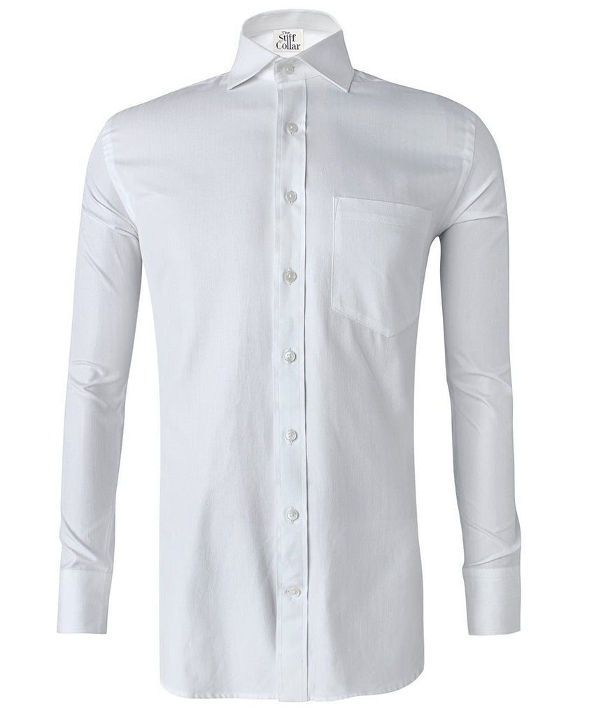 White Herringbone 2 Ply Regular Fit Cotton Shirt