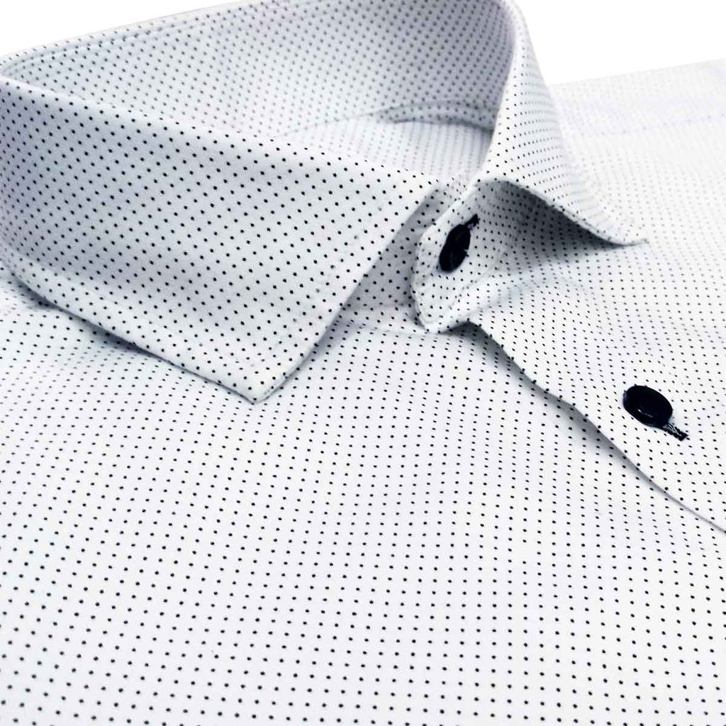 White Satin Polka Dot Cotton Shirt
