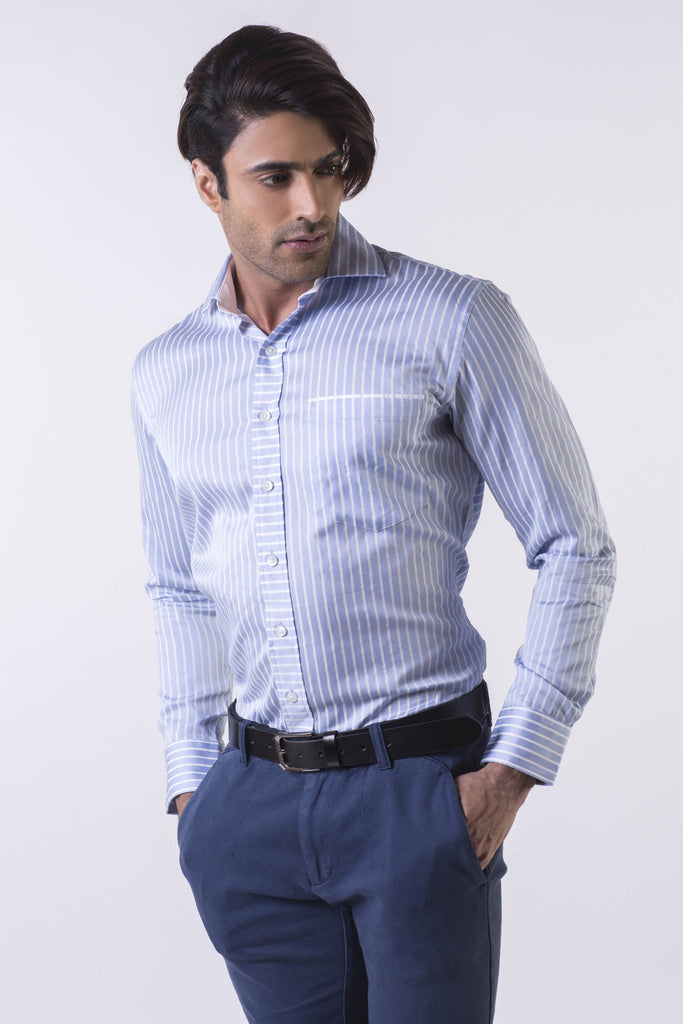 White on Blue Giza Cotton Shirt