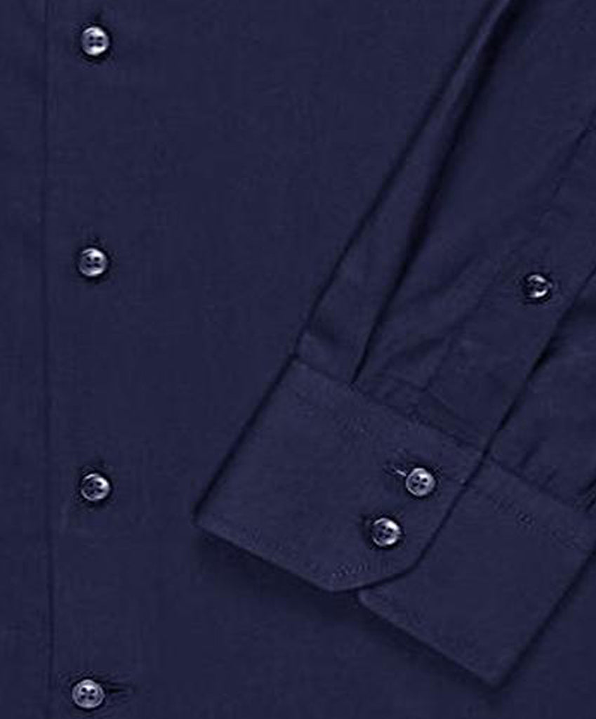 Navy Blue Satin Mandarin Collar Regular Fit Shirt