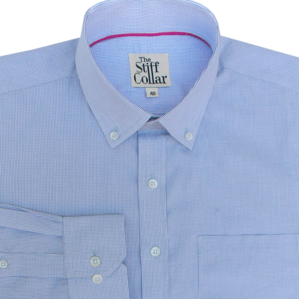 Blue Graph Check Button Down Shirt
