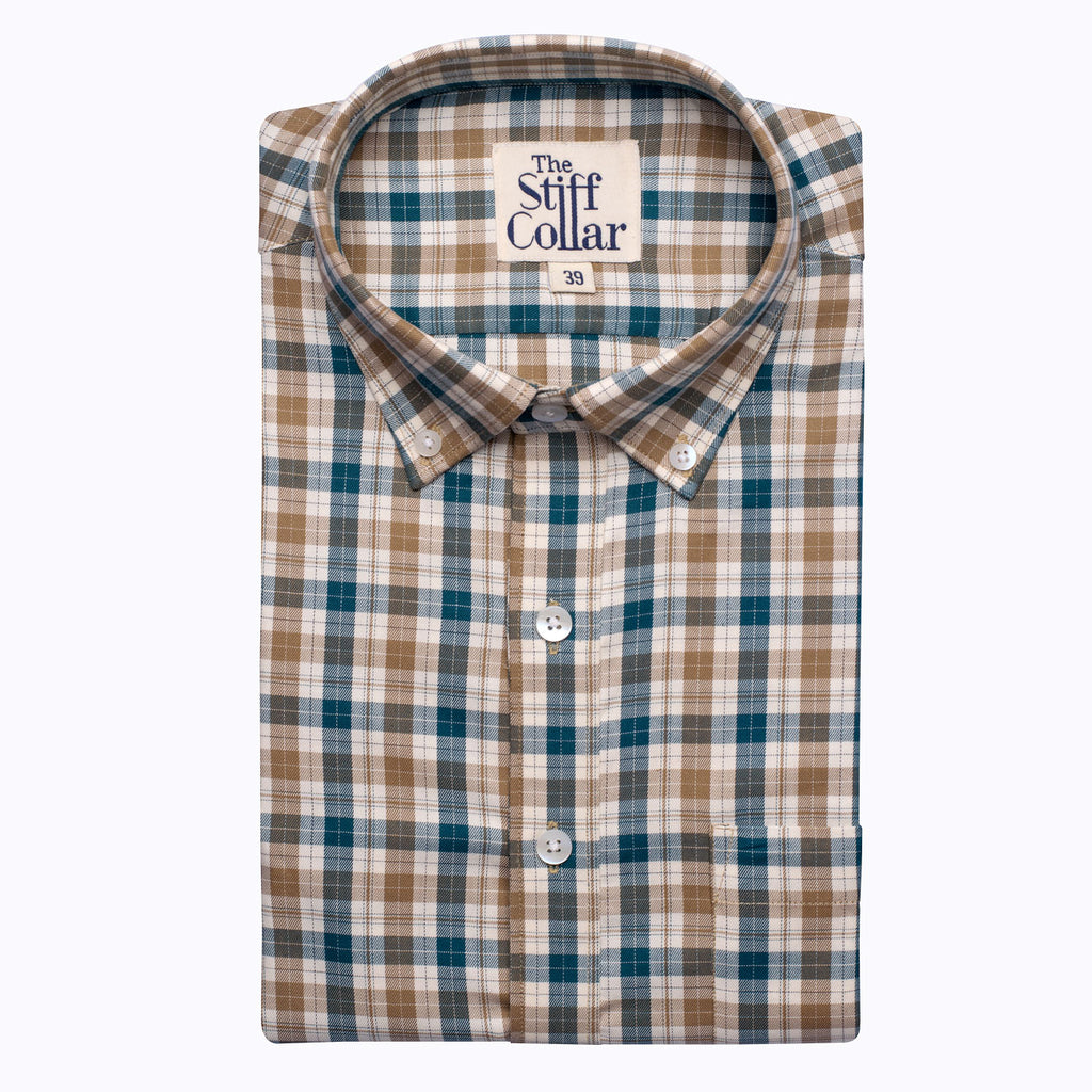 Green Navy Harlequin Check Regular Fit Button Down Collar Shirt
