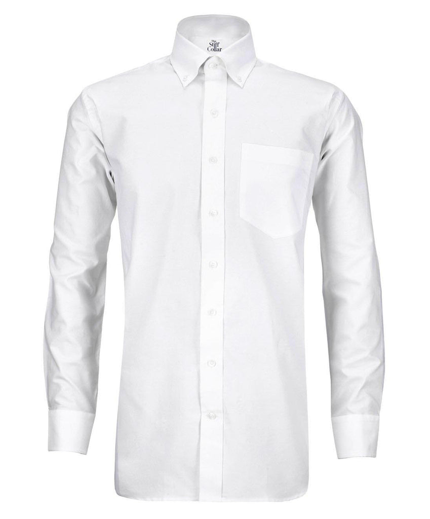 White Twill Button Down Cotton Shirt