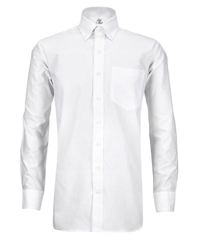 White Herringbone Button Down Shirt