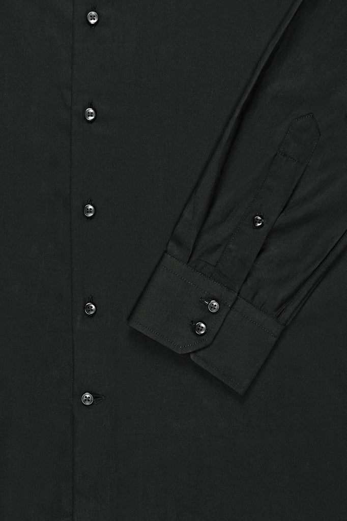Black Satin Mandarin Collar Shirt