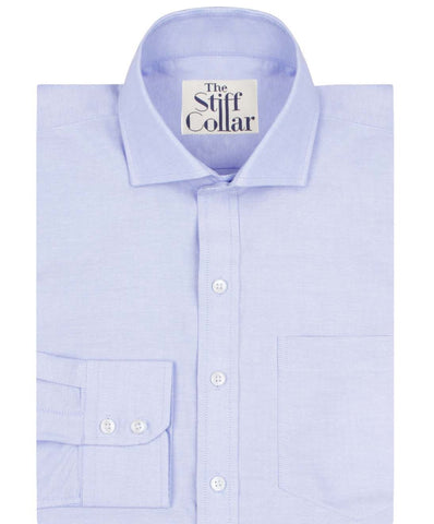 White Herringbone 2 Ply and Blue Oxford Regular Fit Cotton Shirt Combo Pack