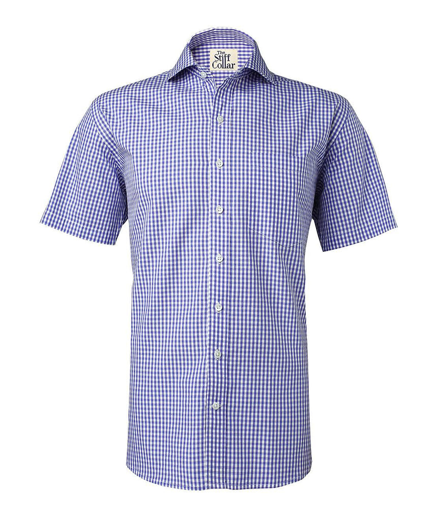 Blue Gingham Half Sleeves Cotton Shirt