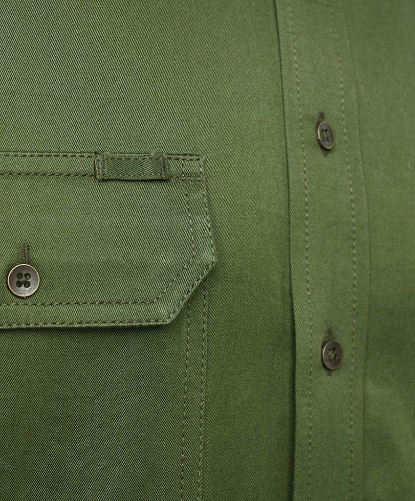 Crocodile Green Outdoor Half Sleeve Cotton Shirt