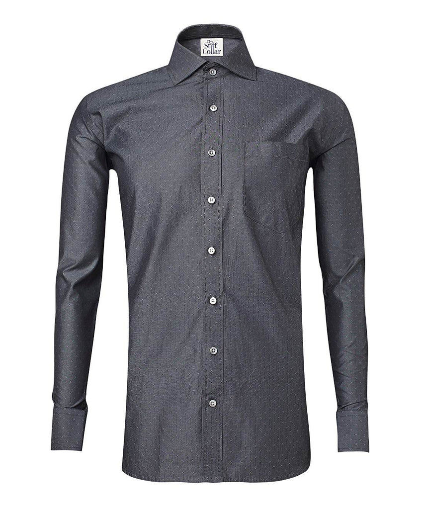 Grey Giza Cotton Dobby Shirt