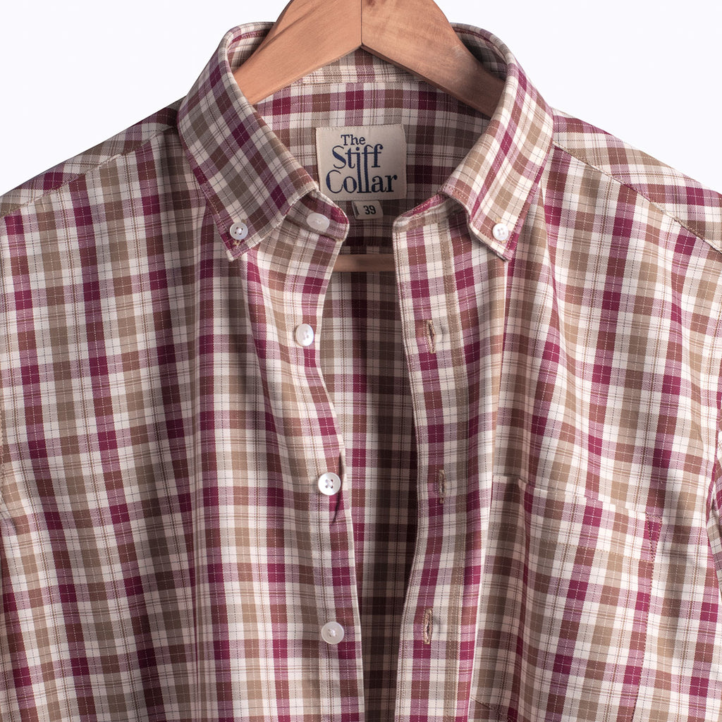 Maroon Brown Harlequin Check Regular Fit Button Down Collar Shirt