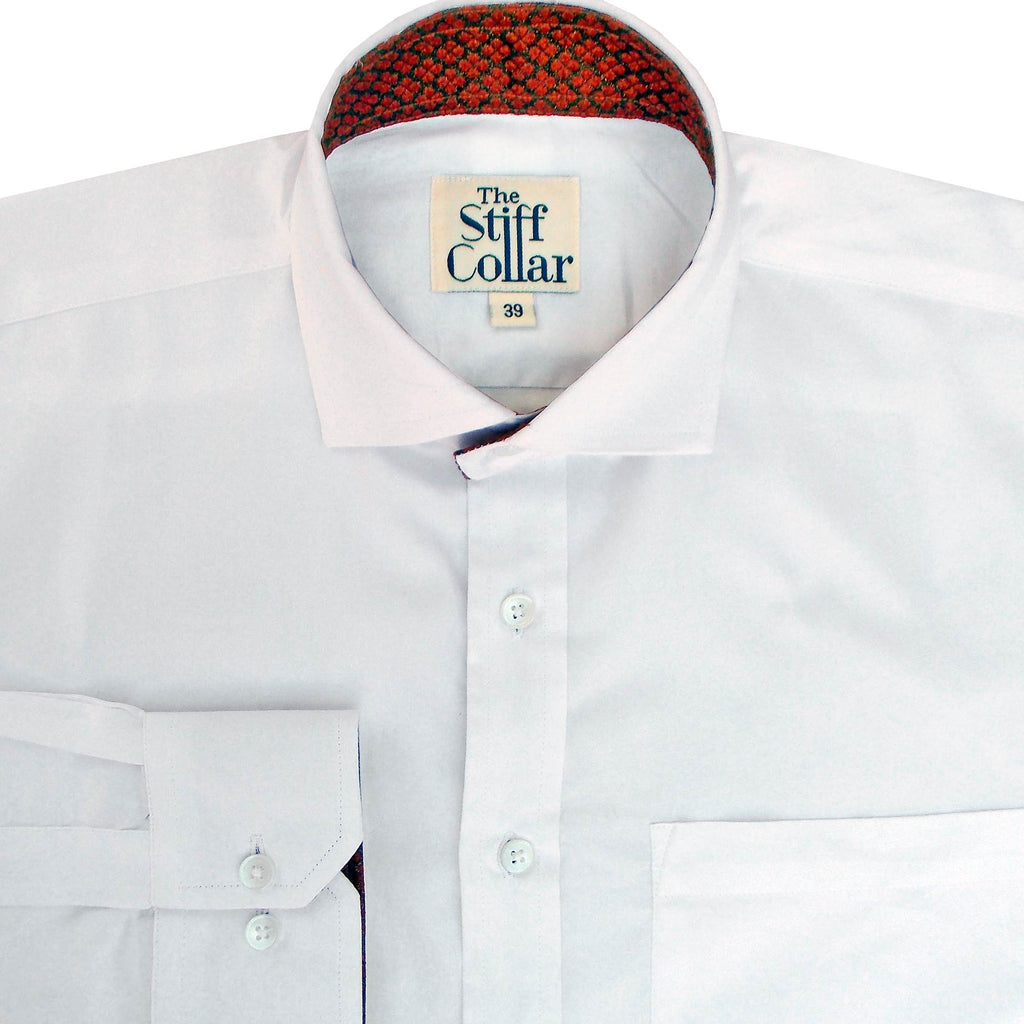 Crimson Red Silk Inlay on White Satin Shirt