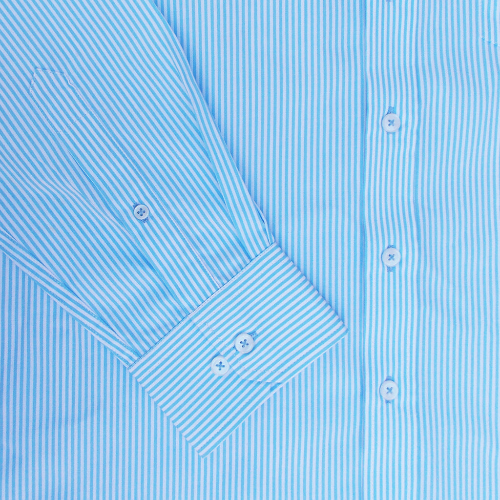Azure Blue Stripes Button Down Giza Cotton Shirt