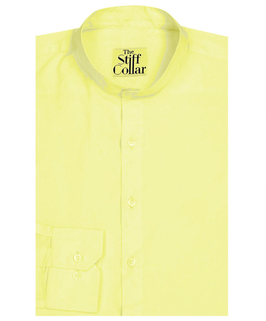 Pastel Yellow Cotton Mandarin Shirt