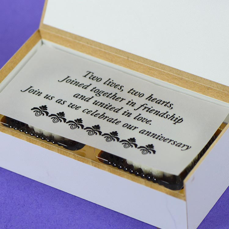 Anniversary Invitations - 2 Chocolate Box - All Printed Chocolates (10 Boxes)