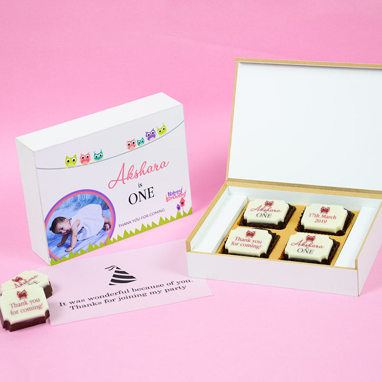 1st Birthday Return Gifts - 4 Chocolate Box - All Printed Chocolate (Sample)
