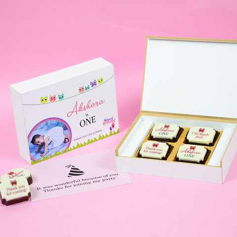 1st Birthday Return Gifts - 4 Chocolate Box - All Printed Chocolates (Minimum 10 Boxes)