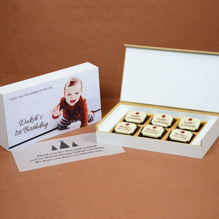 1st Birthday Return Gifts - 6 Chocolate Box - All Printed Chocolates (Minimum 10 Boxes)