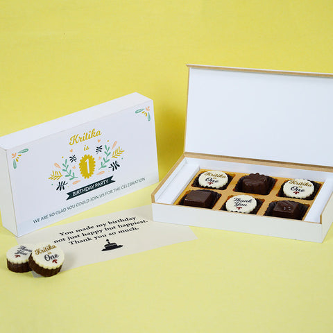 1st Birthday Return Gifts - 6 Chocolate Box - Alternate Printed Chocolate (Sample)