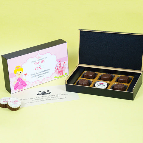 1st Birthday Return Gifts - 6 Chocolate Box - Single Printed Chocolate (Sample)