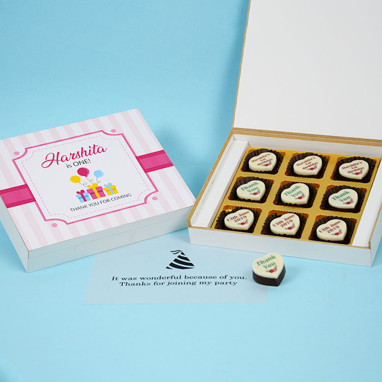 1st Birthday Return Gifts - 9 Chocolate Box - All Printed Chocolates (10 Boxes)