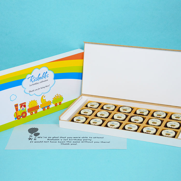 1st Birthday Return Gifts - 18 Chocolate Box - All Printed Chocolates (10 Boxes)