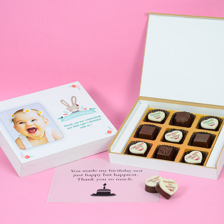 1st Birthday Return Gifts - 9 Chocolate Box - Alternate Printed Chocolates (10 Boxes)