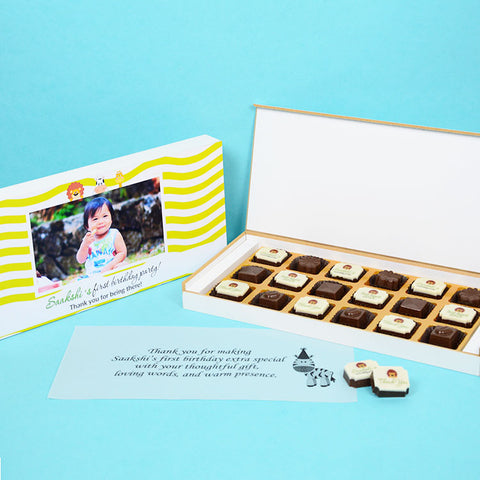 1st Birthday Return Gifts - 18 Chocolate Box - Alternate Printed Chocolates (Sample)