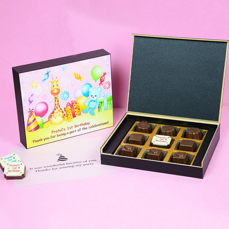 1st Birthday Return Gifts - 9 Chocolate Box - Middle Printed Chocolates (10 Boxes)
