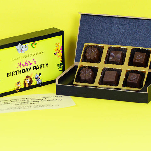 Personalized Birthday invitations - 6 Chocolate Box - Assorted Candies (Minimum 10 Boxes)