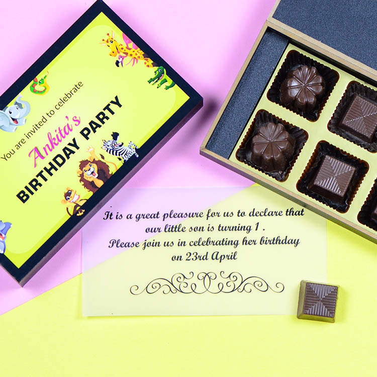 Birthday Invitations - 6 Chocolate Box - Assorted Chocolates (Sample)