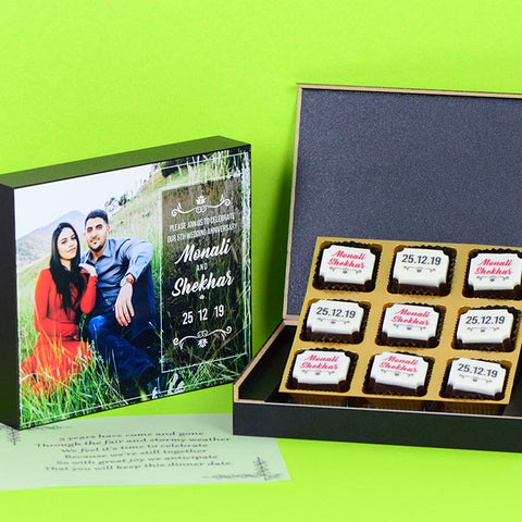Anniversary Invitations - 9 Chocolate Box - All Printed Chocolates (Minimum 10 Boxes)