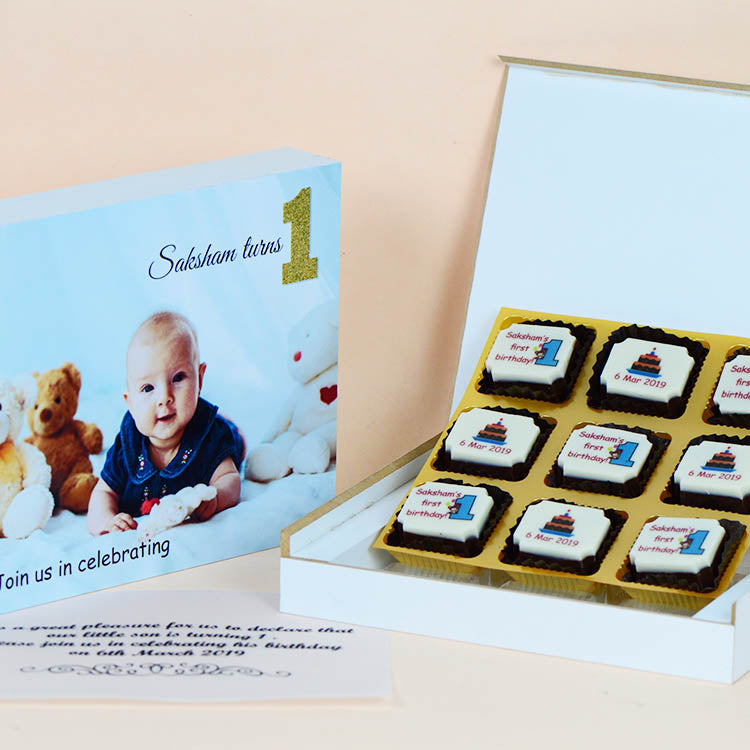Birthday Invitations - 9 Chocolate Box - All Printed Chocolates (Sample)