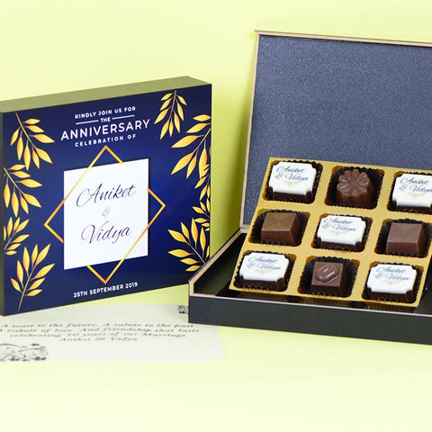 Anniversary Invitations - 9 Chocolate Box - Alternate Printed Chocolates (Minimum 10 Boxes)
