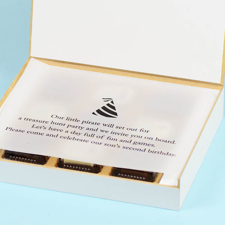 Birthday Invitation - 9 Chocolate Box - Alternate Printed Chocolates (Sample)