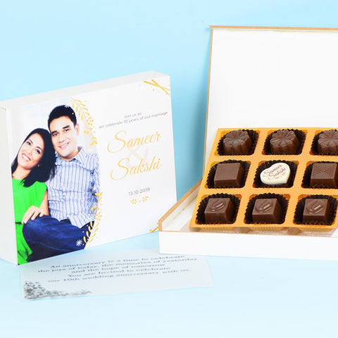 Anniversary Invitations - 9 Chocolate Box - Single Printed Chocolates (Minimum 10 Boxes)