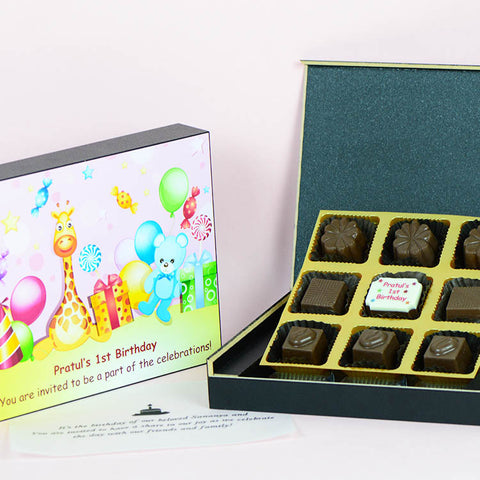 Birthday Invitations - 9 Chocolate Box - Single Printed Chocolates (Sample)