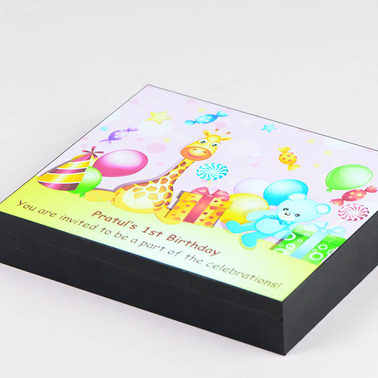 Birthday Invitations - 9 Chocolate Box - Single Printed Chocolates (Minimum 10 Boxes)