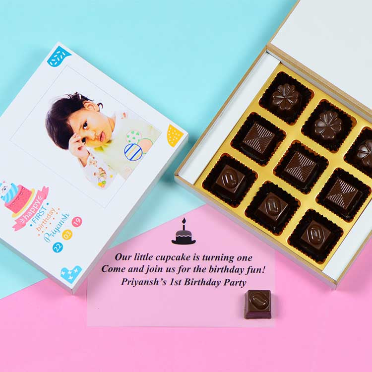 1st Birthday Invitations - 9 Chocolate Box - Assorted Chocolates (Sample)
