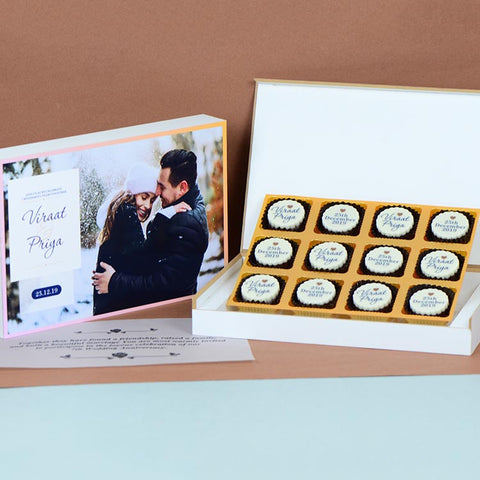 Anniversary Invitations - 12 Chocolate Box - All Printed Chocolates (Minimum 10 Boxes)